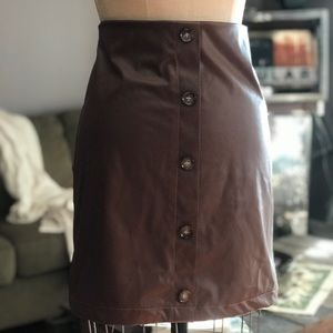 PRETTYLITTLETHING - Faux Leather Button Skirt